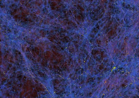 A simulation of the large-scale structure of the Universe that shows density filaments in blue and places of galaxy formation in yellow.