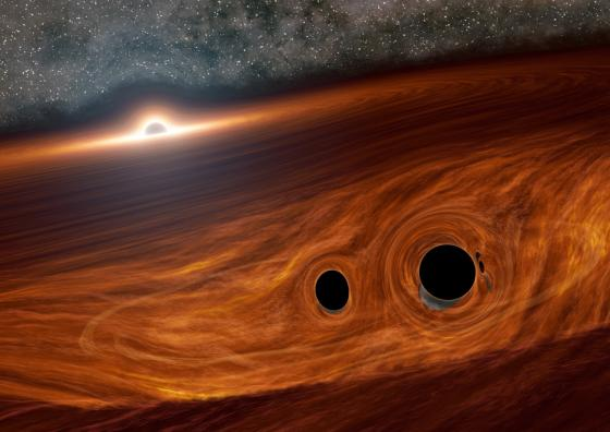 An artist's depiction of two black holes merging within the disk of a supermassive black hole, later releasing a burst of light